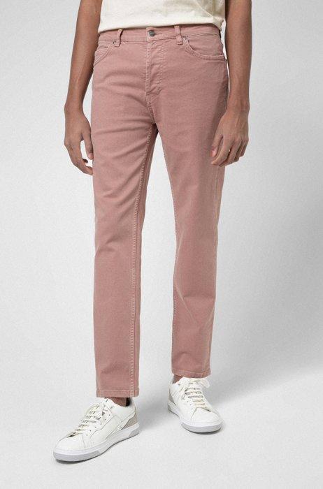 Tapered-fit jeans van stretchdenim met biologische katoen, Lichtroze