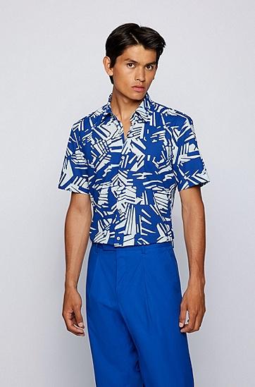 意大利棉纱热带风情印花修身衬衫,  428_中蓝色