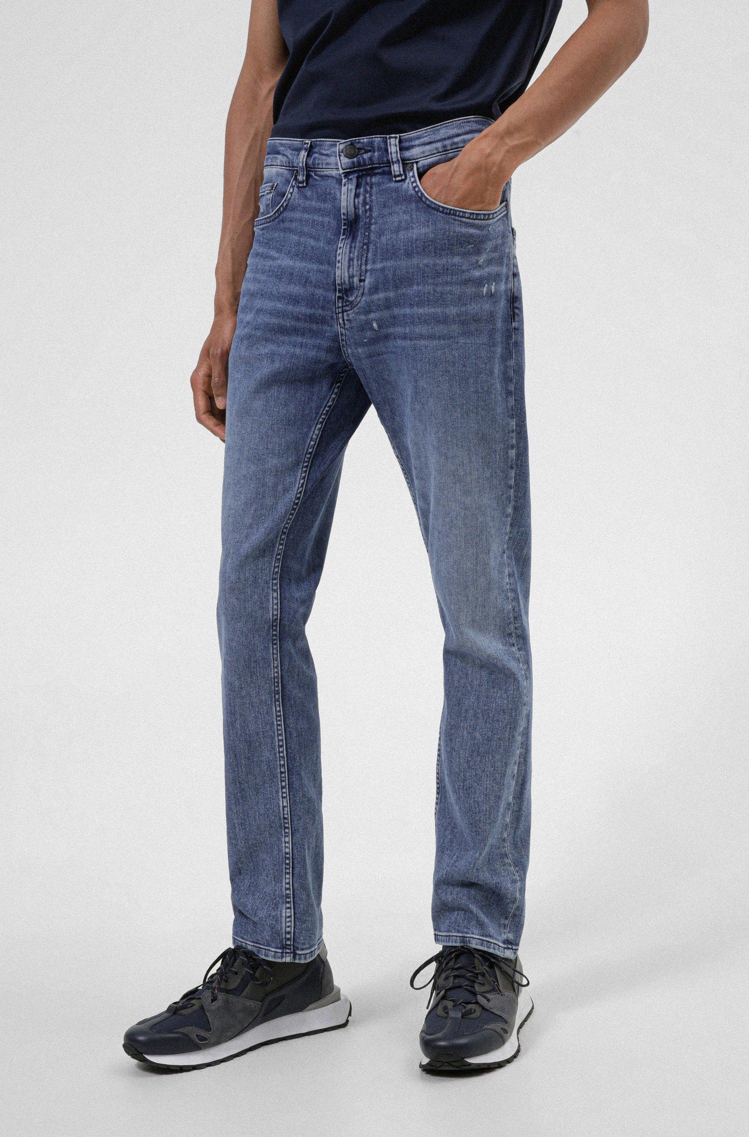 Regular-fit jeans in blue organic comfort-stretch denim, Light Blue
