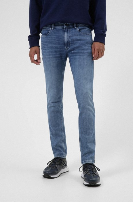 Extra-slim-fit jeans in blue Italian comfort-stretch denim, Blue