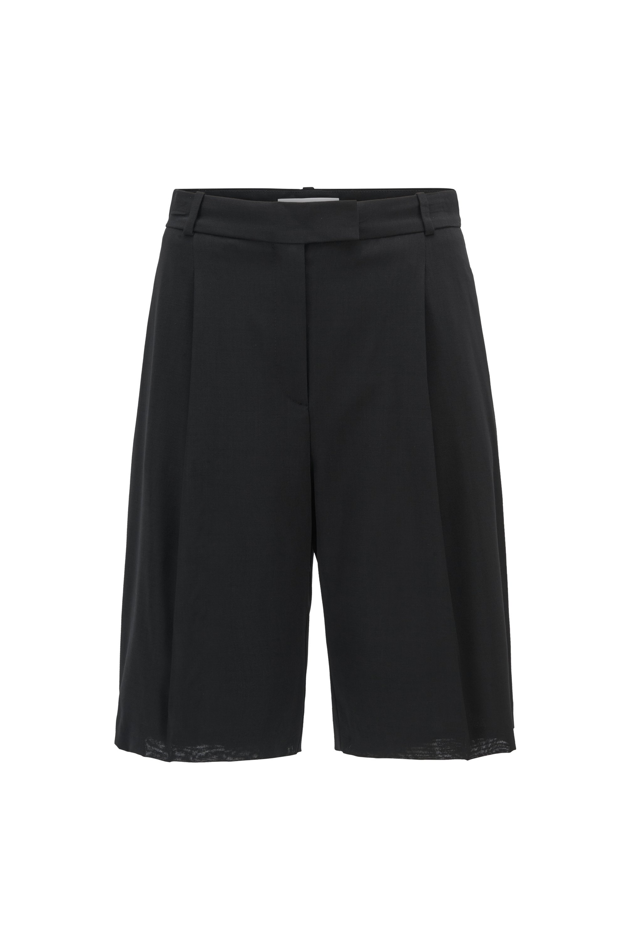 Wide-leg regular-fit shorts in virgin wool, Black
