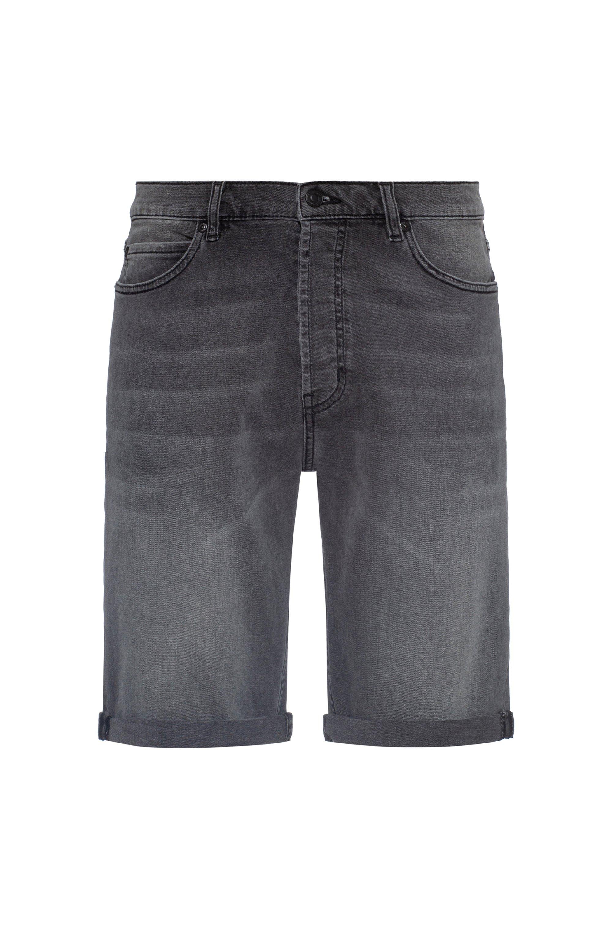Tapered-fit shorts in grey stretch denim, Dark Grey