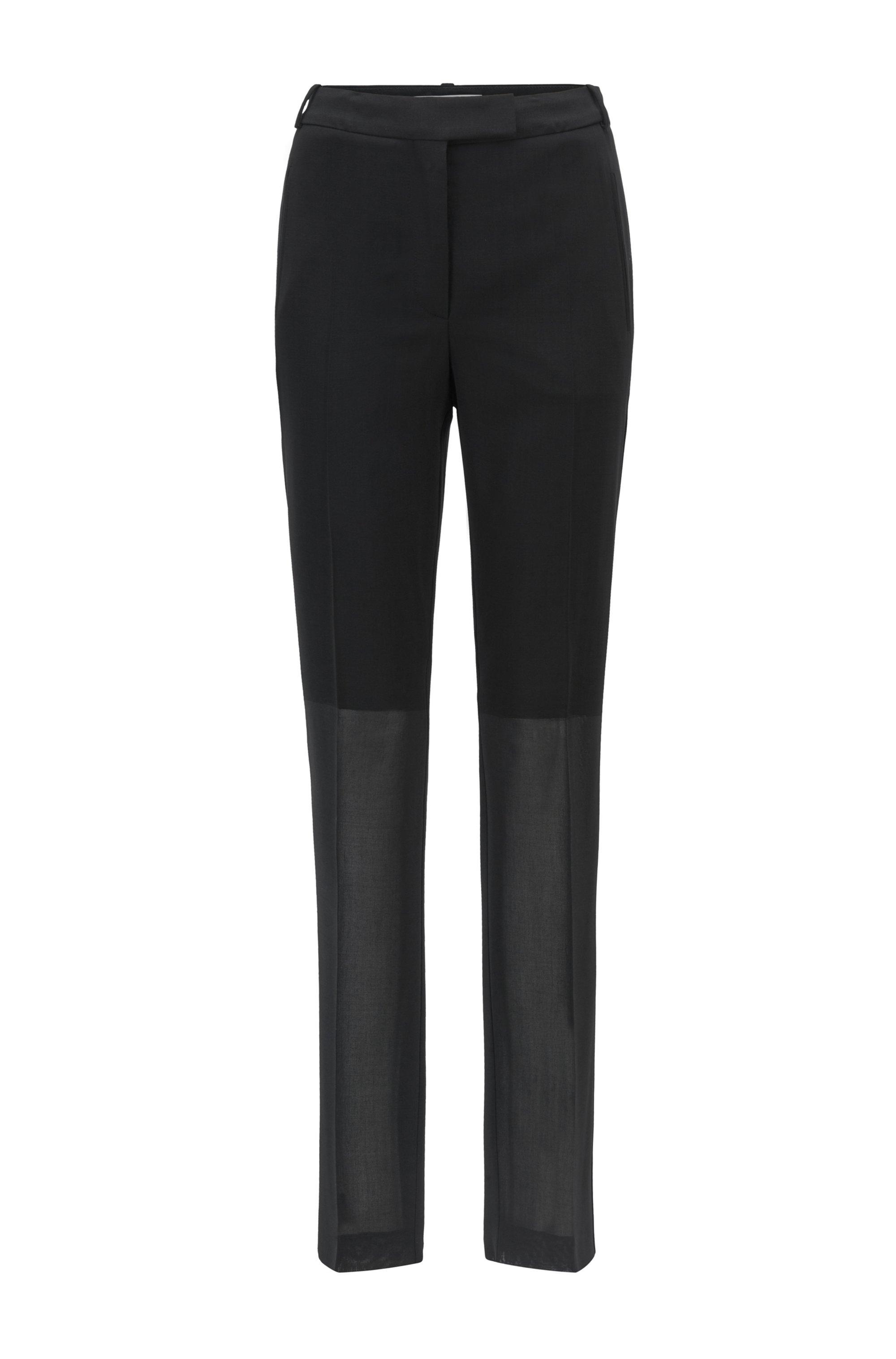Regular-fit trousers in virgin wool, Black