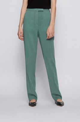 Regular-fit trousers in virgin wool, Turquoise