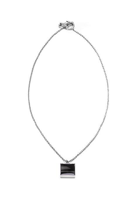 Enamel pendant necklace with carabiner closure, Silver