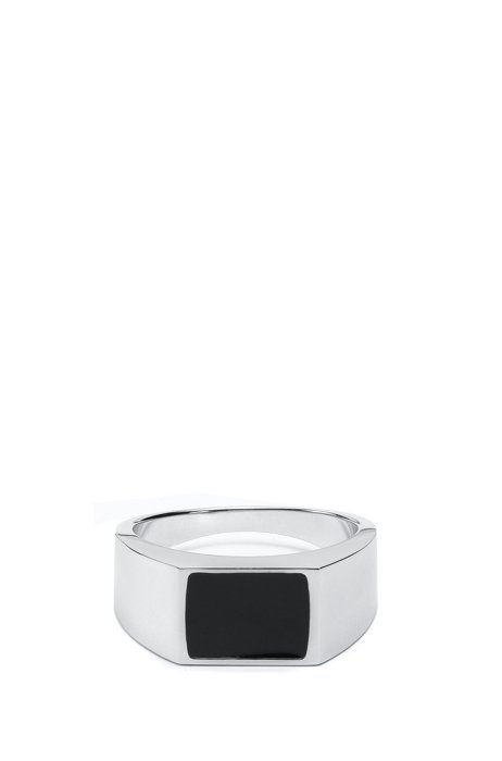 Polished brass ring with black enamel insert, Black