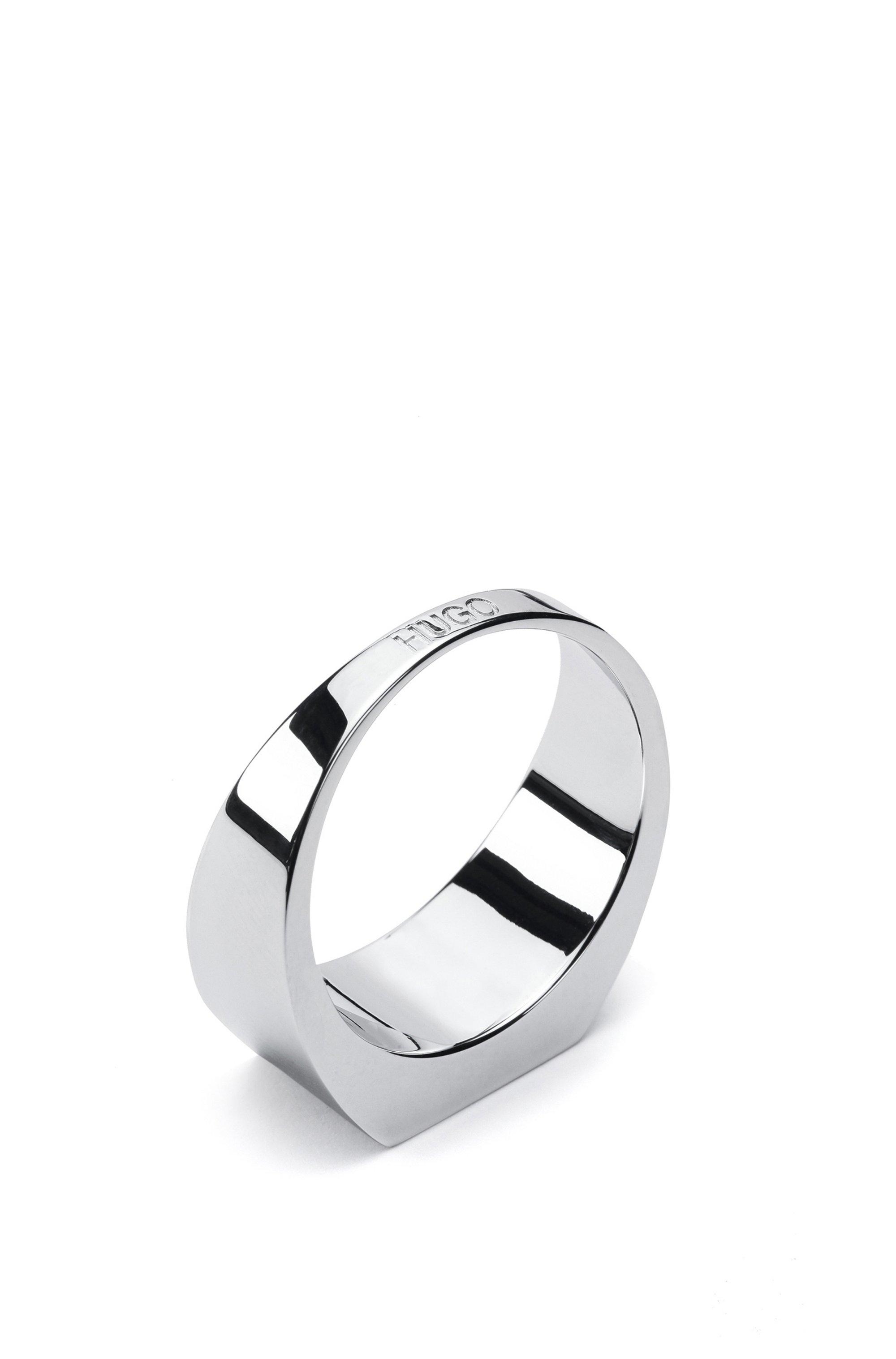 Polished brass ring with black enamel insert