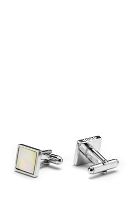 Square cufflinks with mother-of-pearl insert, White