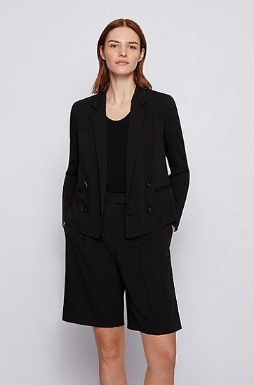 初剪羊毛常规版型双排扣夹克,  001_Black