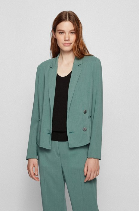 Double-breasted regular-fit jacket in virgin wool, Turquoise