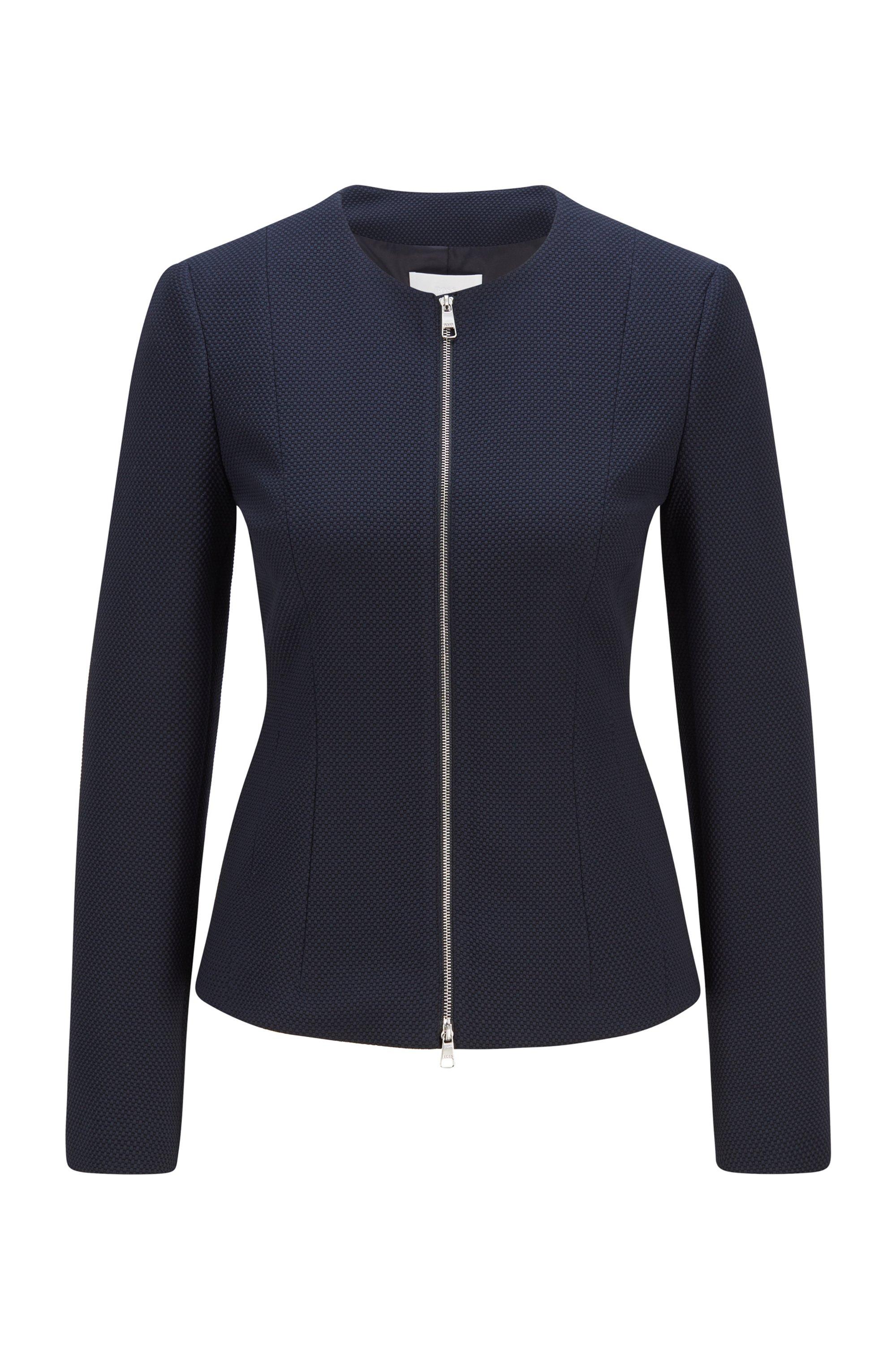 Structured-jersey regular-fit jacket with two-way zip, Dark Blue