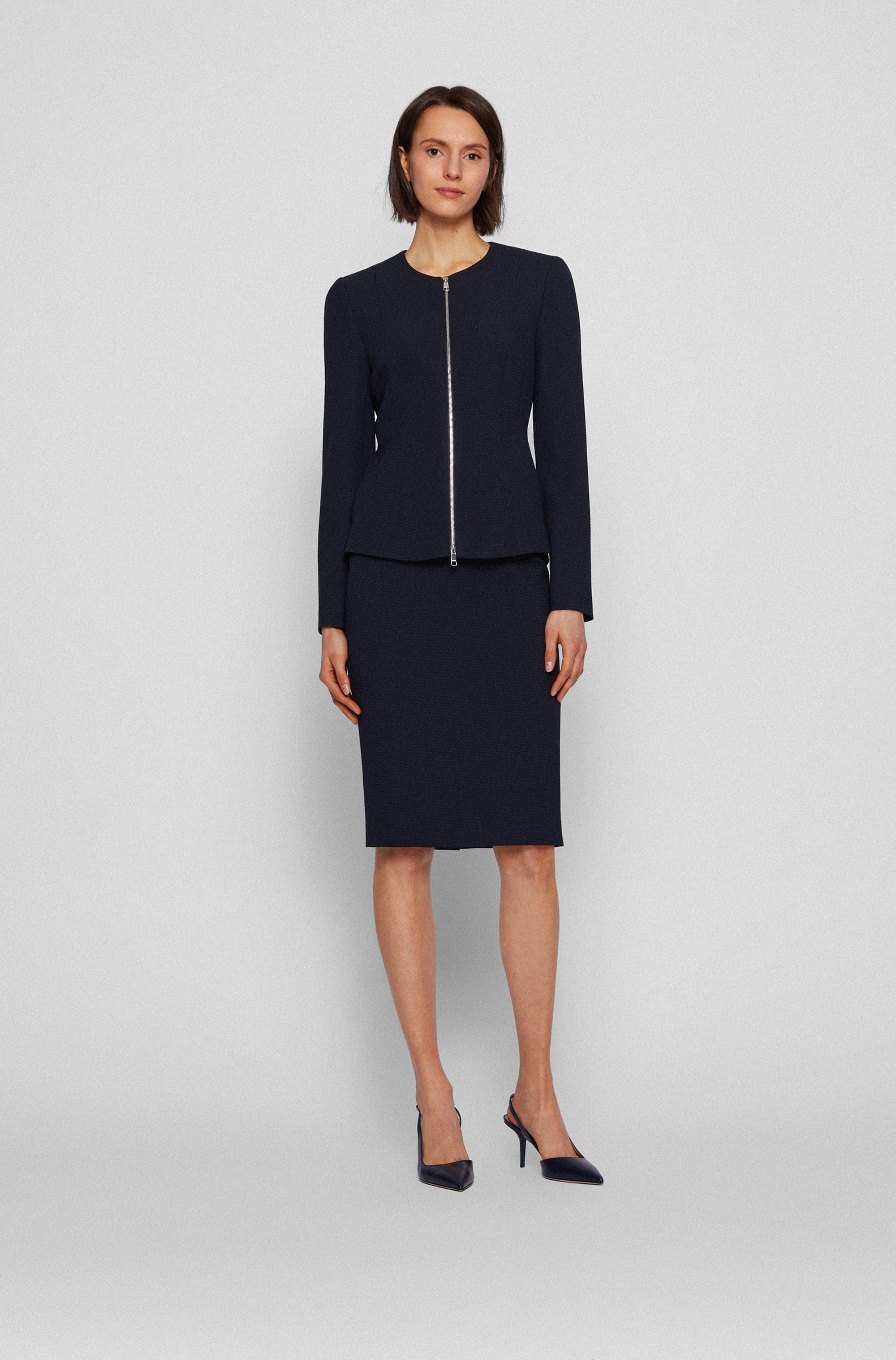 Structured-jersey regular-fit jacket with two-way zip