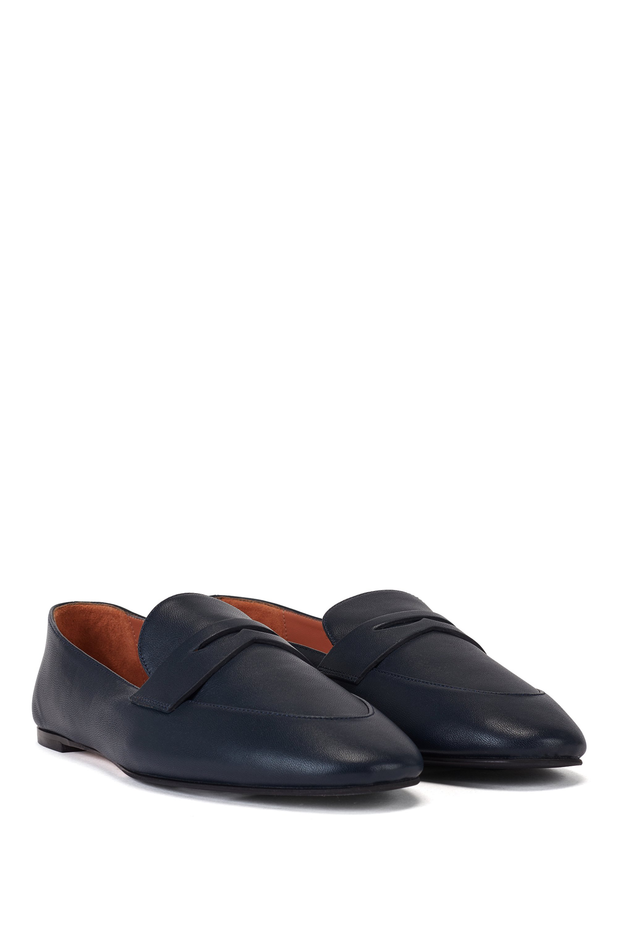 Italian-leather loafers with penny trim