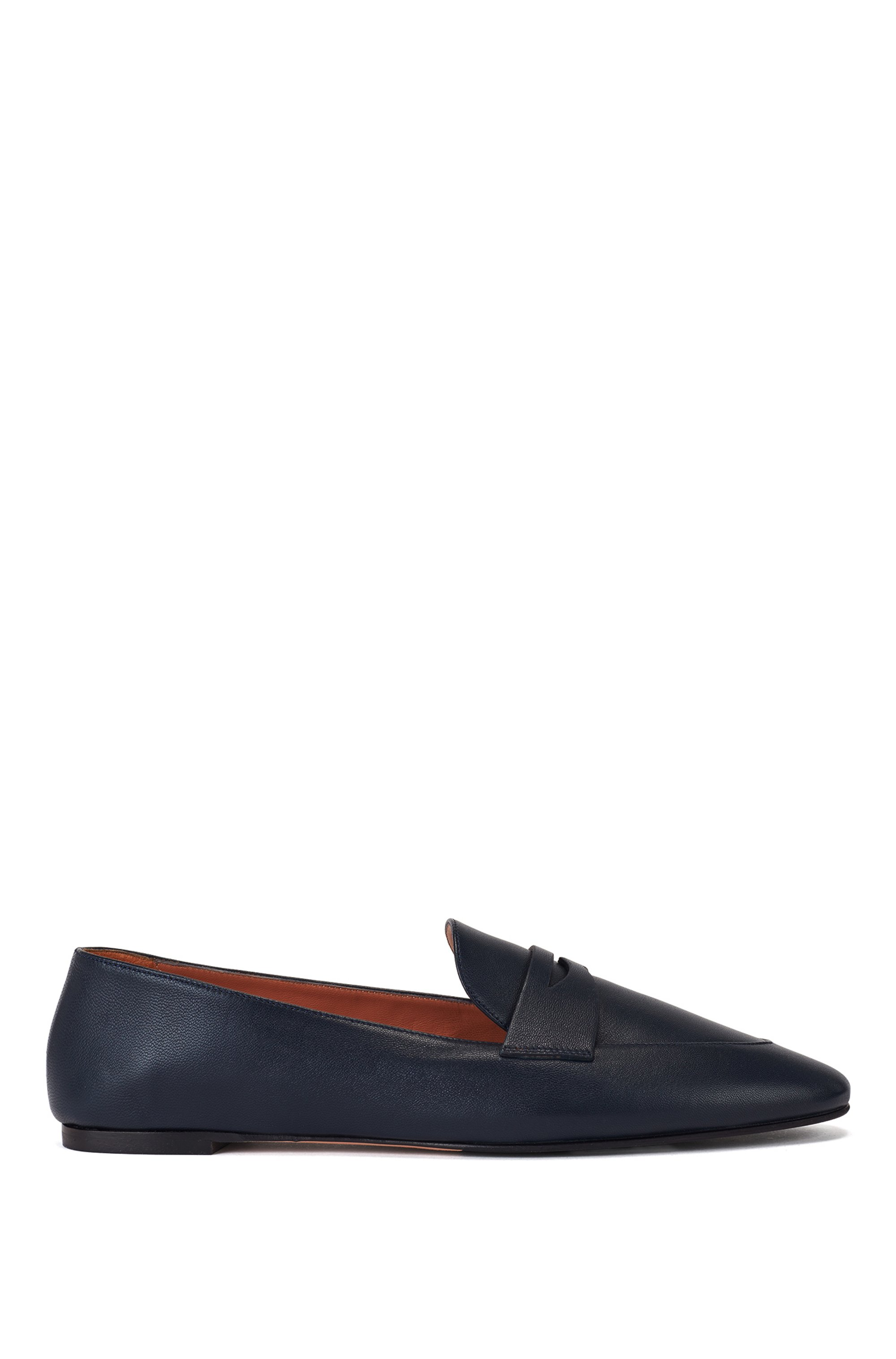 Italian-leather loafers with penny trim, Dark Blue