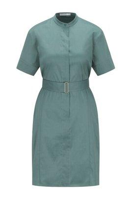 Short-sleeved shirt dress in lightweight stretch poplin, Light Green