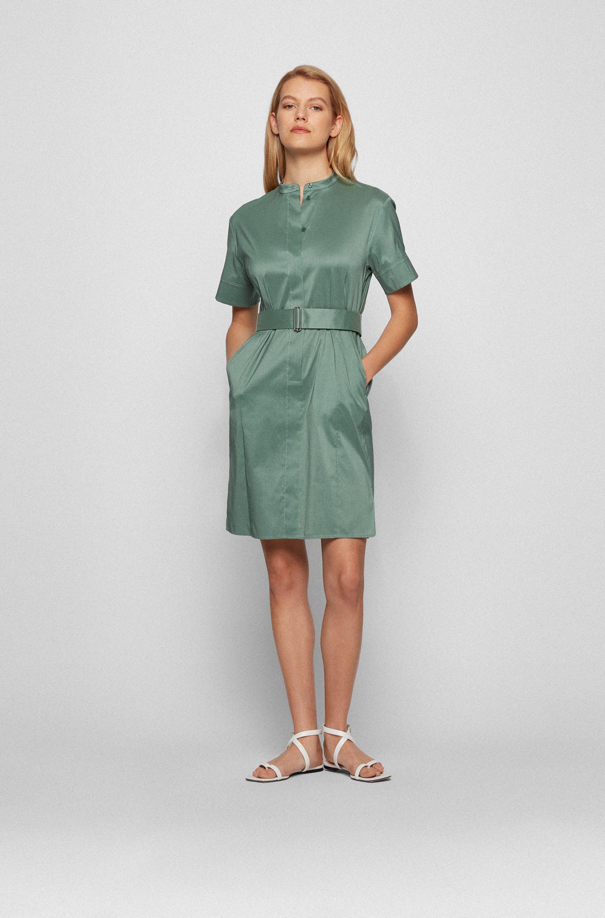 Short-sleeved shirt dress in lightweight stretch poplin