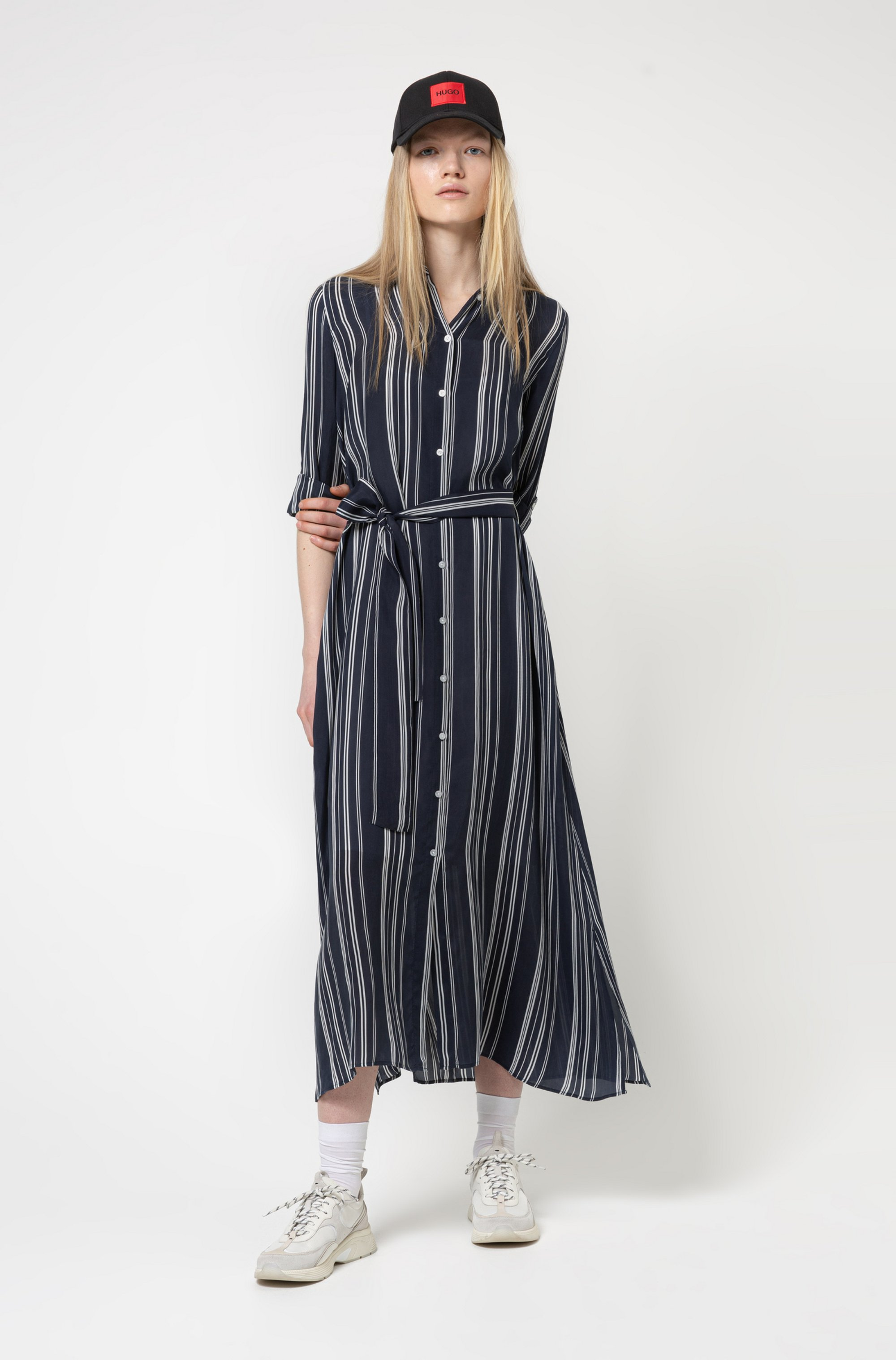Striped shirt dress in cupro with roll-up sleeves