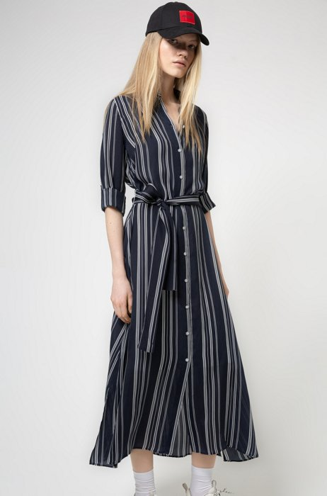 Striped shirt dress in cupro with roll-up sleeves, Patterned