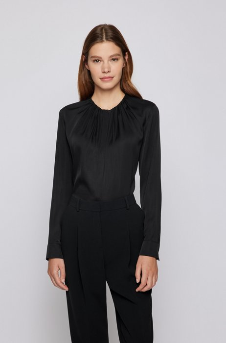 Ruched-neck blouse in stretch-silk crepe de Chine, Black