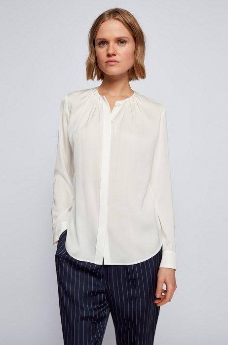 Ruched-neck blouse in stretch-silk crepe de Chine, White