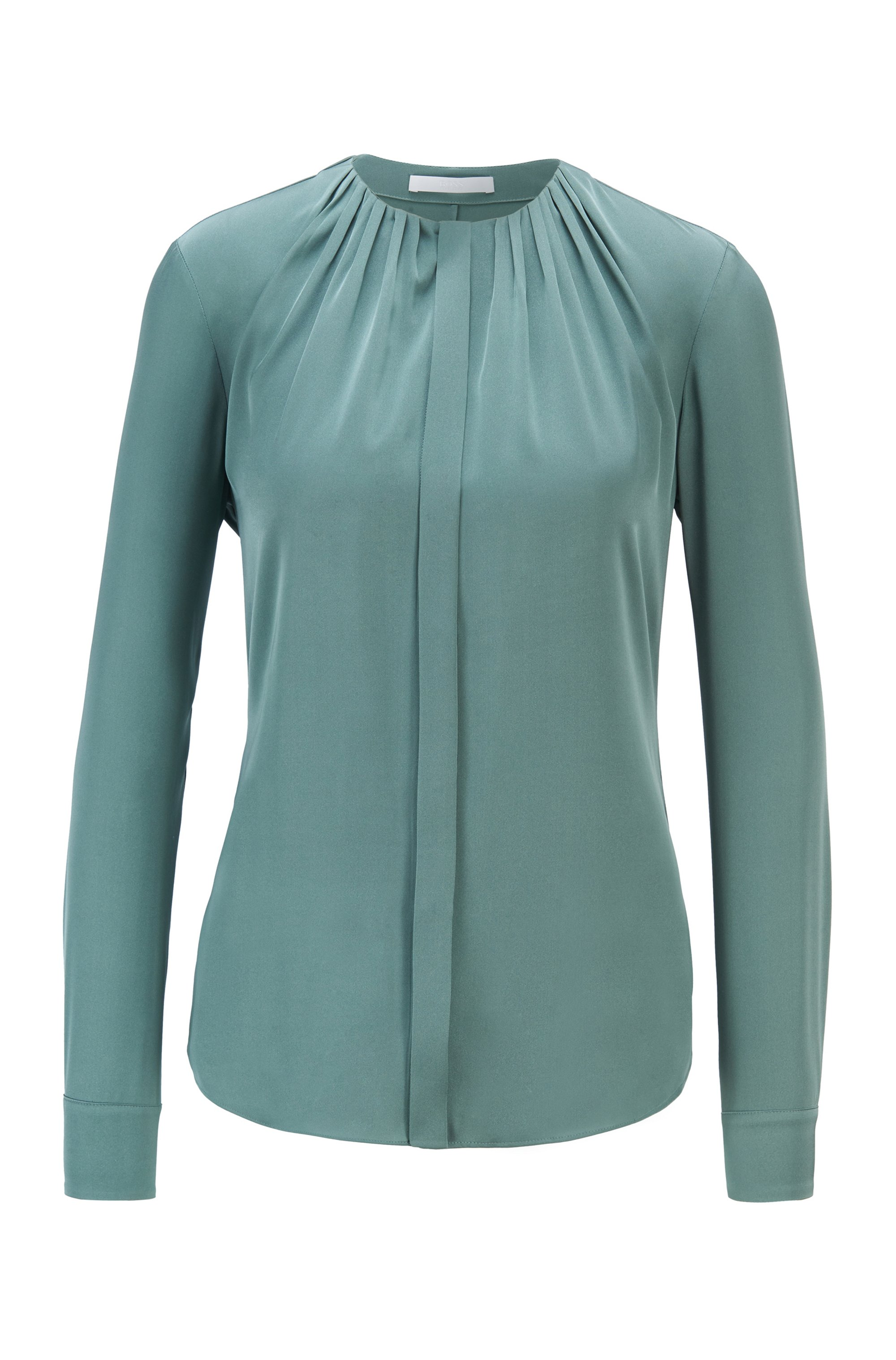 Ruched-neck blouse in stretch-silk crepe de Chine, Turquoise