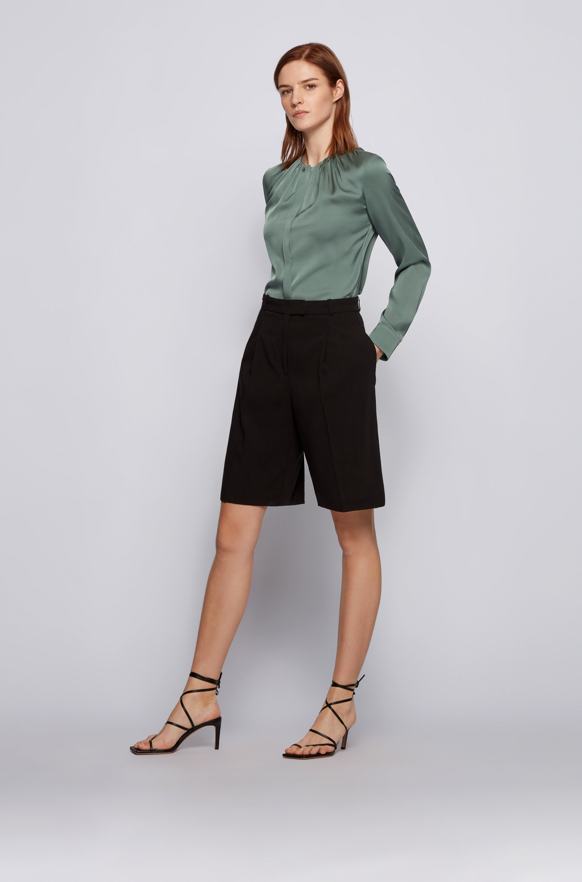 Stretch-silk crepe-de-chine blouse with gathered neckline
