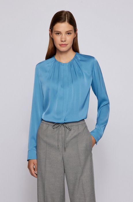 Ruched-neck blouse in stretch-silk crepe de Chine, Blue