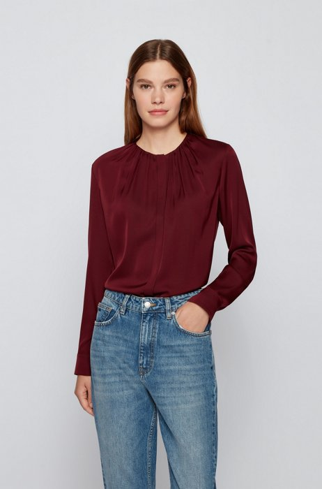 Ruched-neck blouse in stretch-silk crepe de Chine, Dark Red