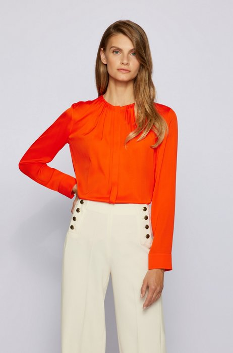 Ruched-neck blouse in stretch-silk crepe de Chine, Orange