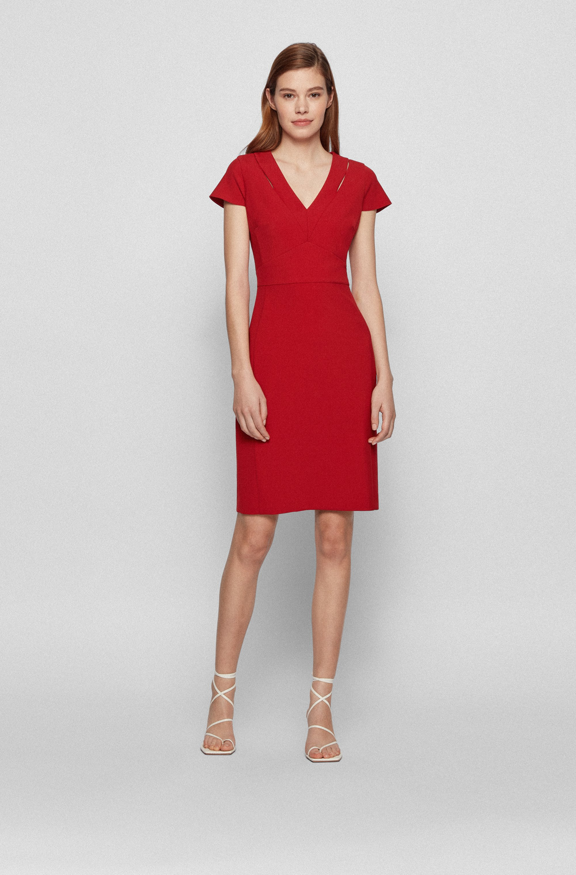 V-neck shift dress in double-faced stretch fabric
