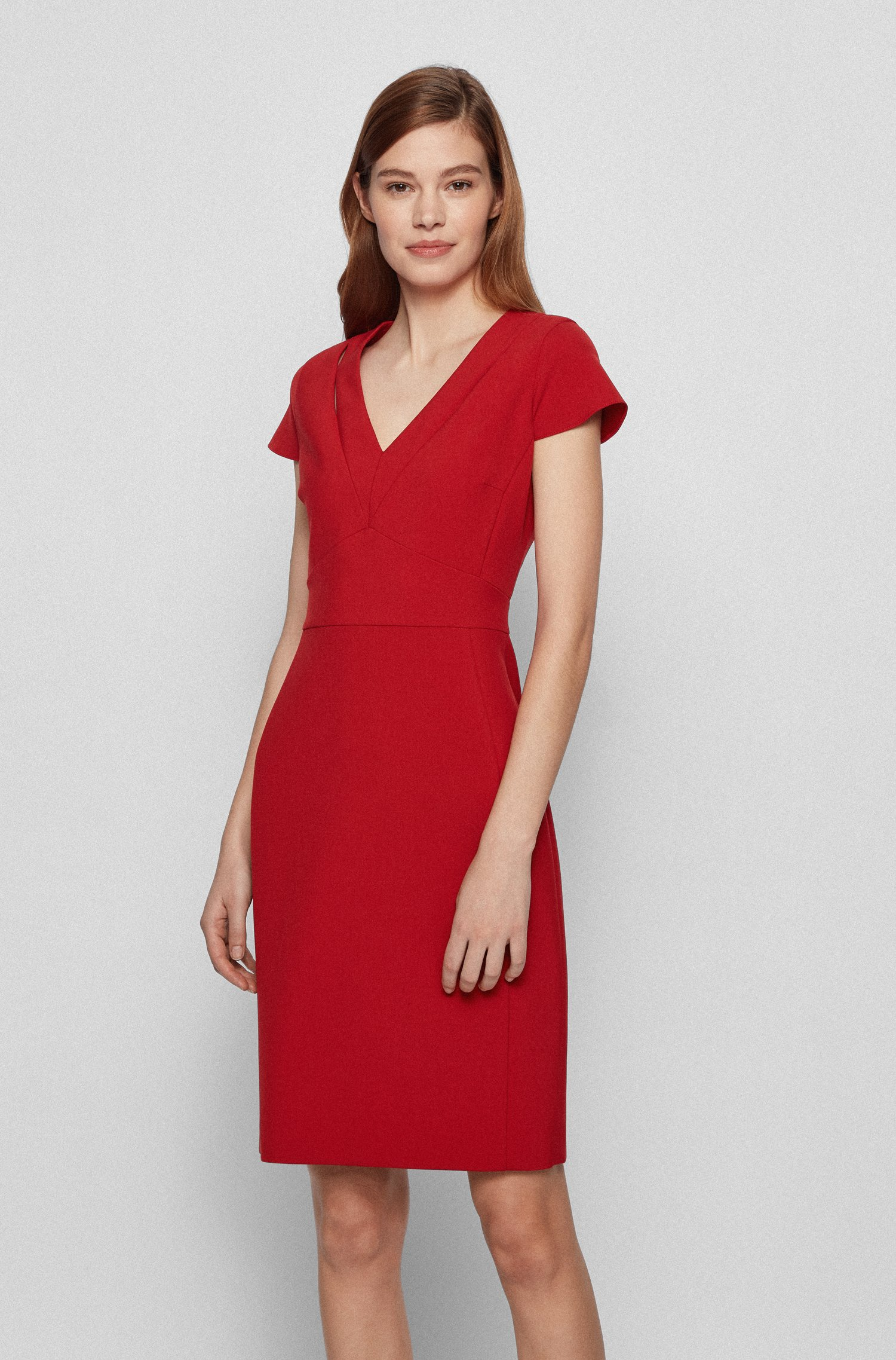 V-neck shift dress in double-faced stretch fabric, Red