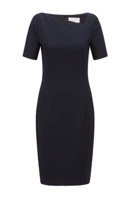 Structured-jersey shift dress with asymmetric neckline, Dark Blue