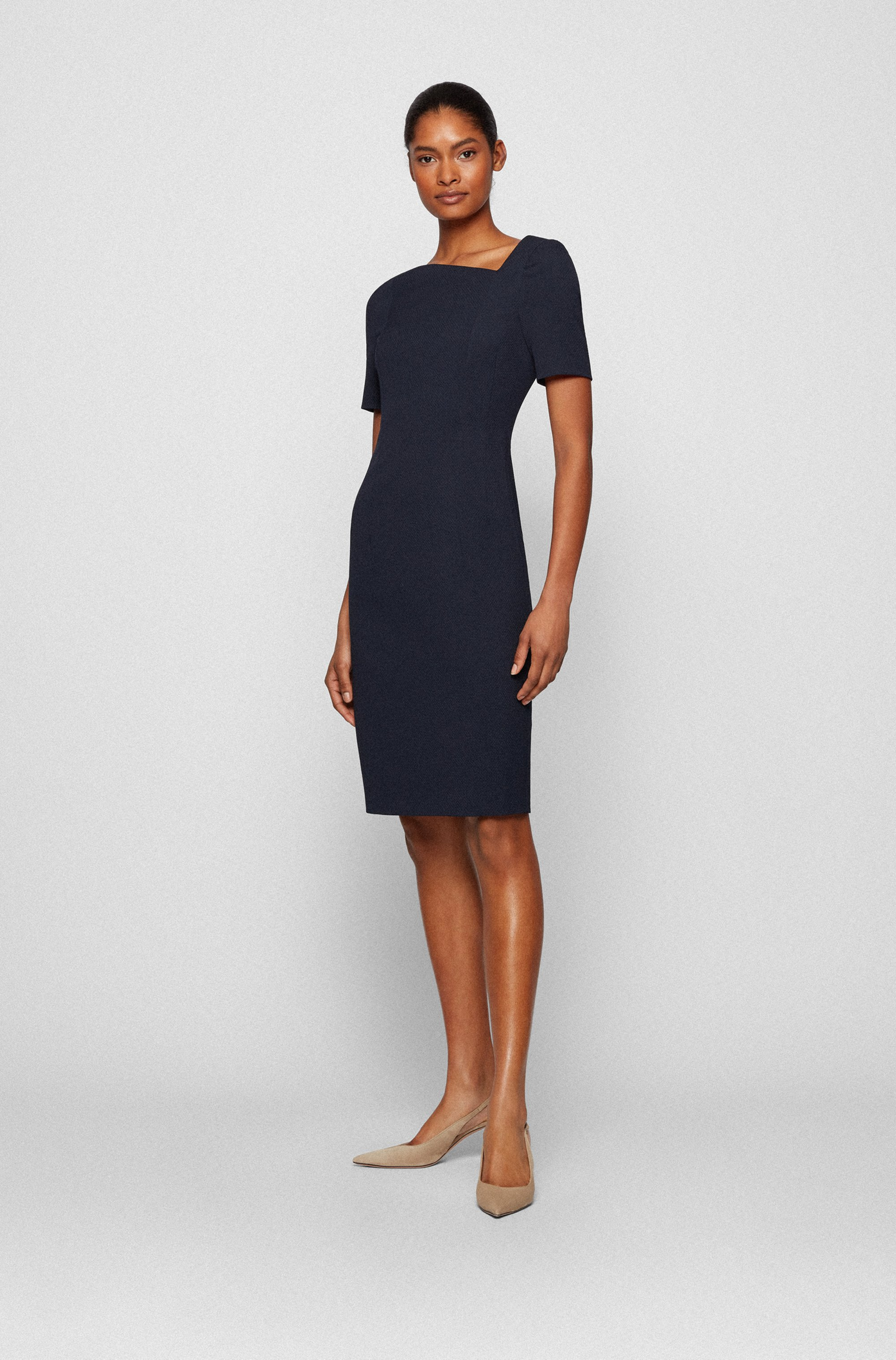 Structured-jersey shift dress with asymmetric neckline