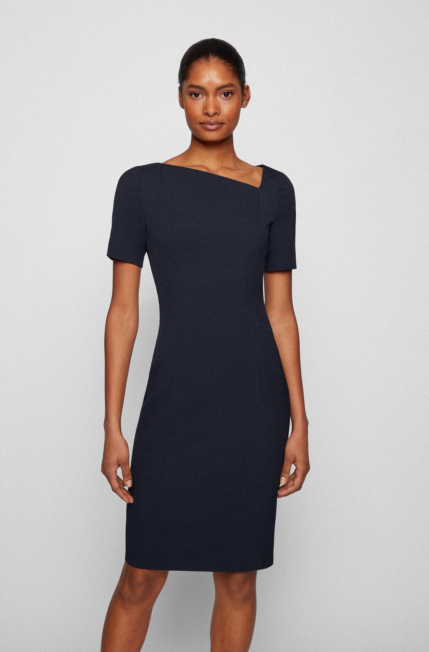 Structured-jersey shift dress with asymmetric neckline, Dark Blue
