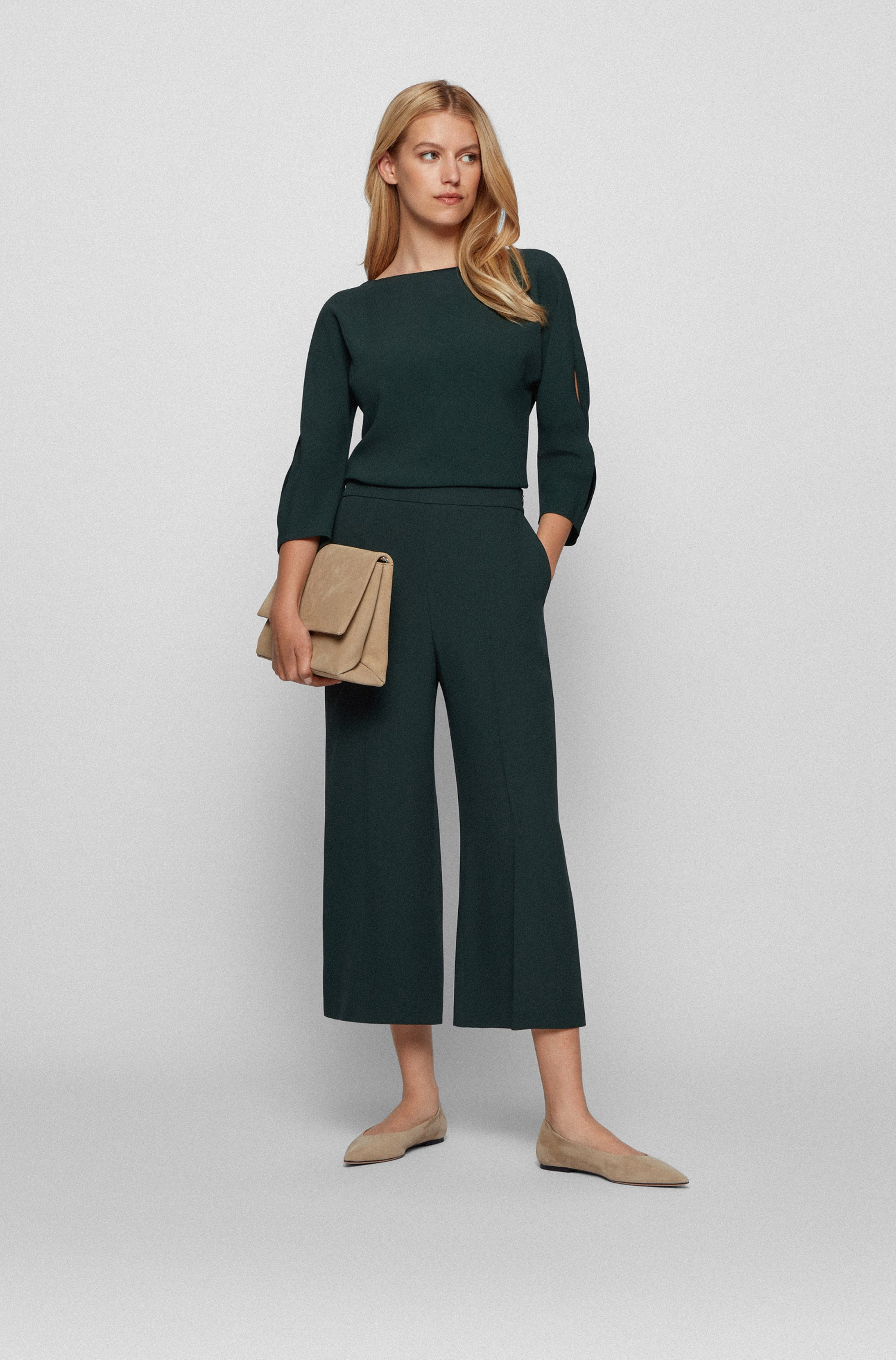 Wide-leg relaxed-fit trousers in crinkle crepe