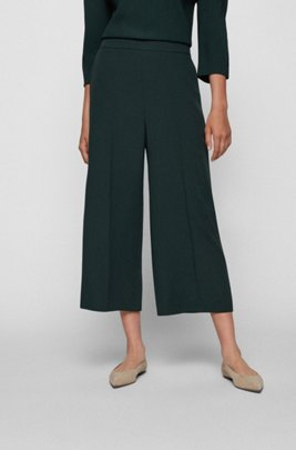 Wide-leg relaxed-fit trousers in crinkle crepe, Dark Green