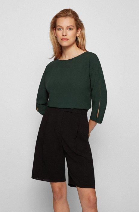 Crinkle-crepe top with cropped sleeves, Dark Green