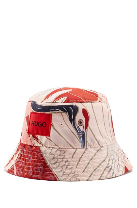 Bucket hat in twill with crane print, Pink Patterned