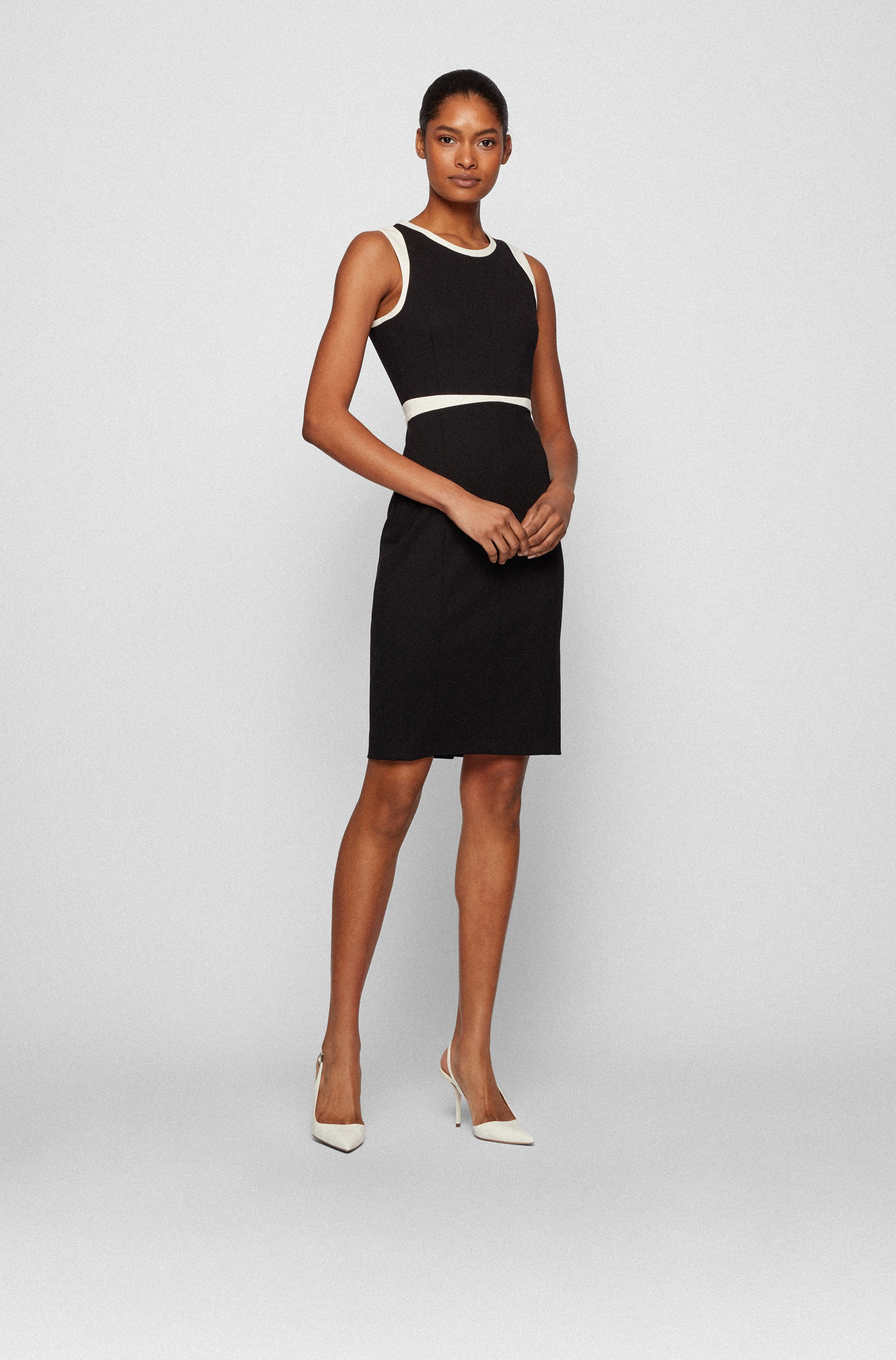 Stretch-jersey shift dress with contrast details