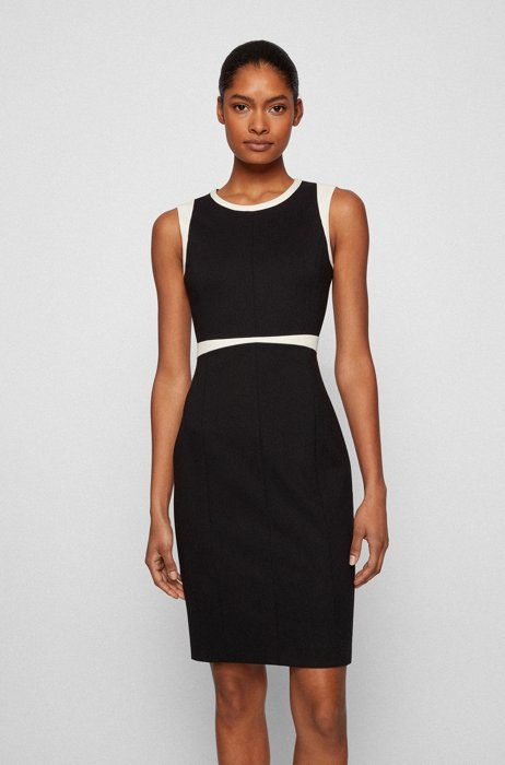 Stretch-jersey shift dress with contrast details, Black
