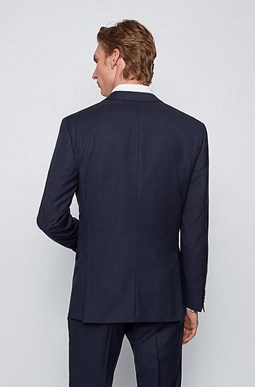 图案装饰初剪羊毛修身三件套西装,  402_Dark Blue