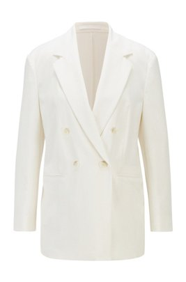 Double-breasted regular-fit jacket in crinkle crepe, White