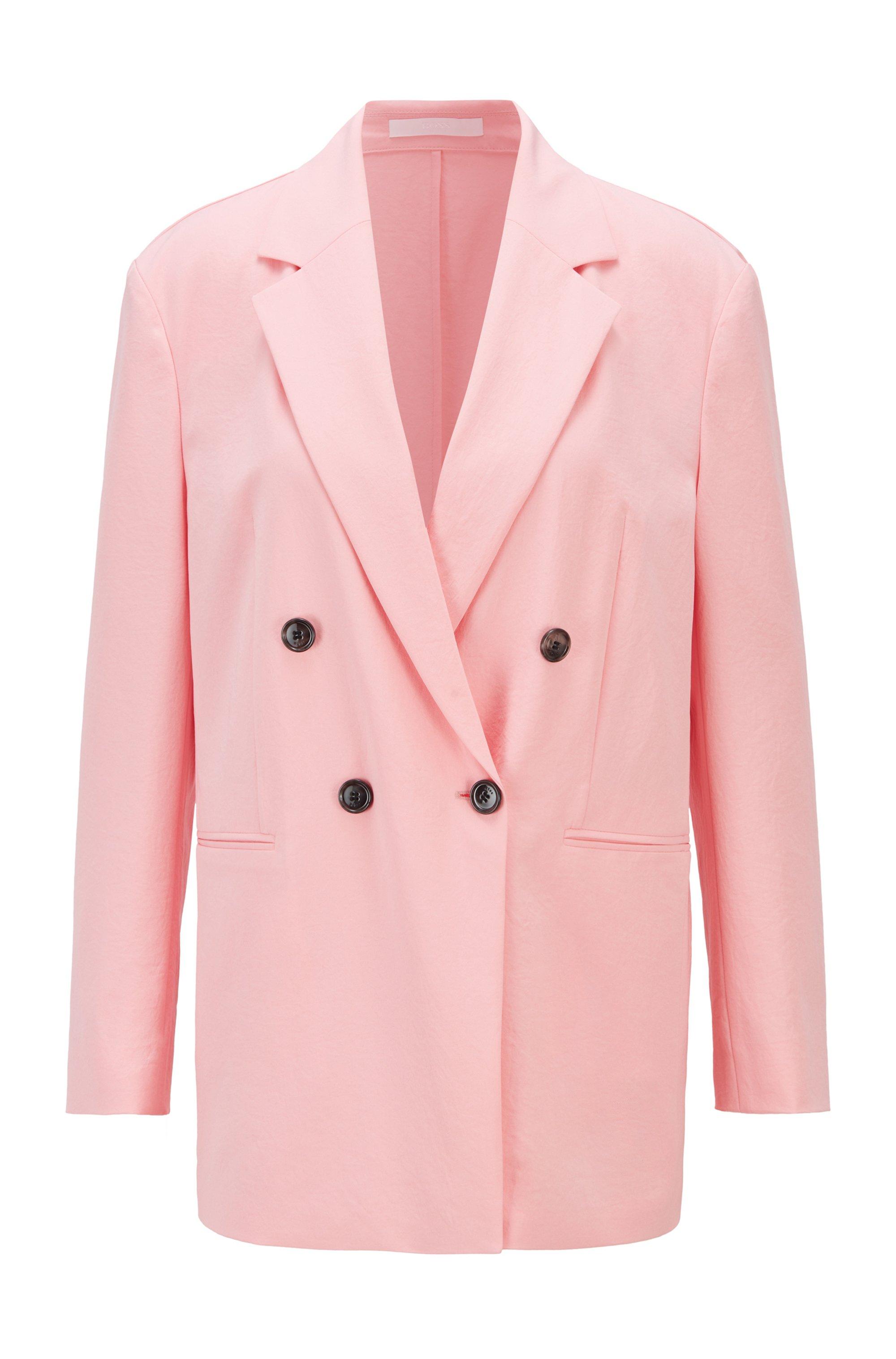 Regular-fit blazer van gekreukte crêpe met twee rijen knopen, Pink