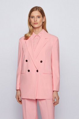 Double-breasted regular-fit jacket in crinkle crepe, Pink