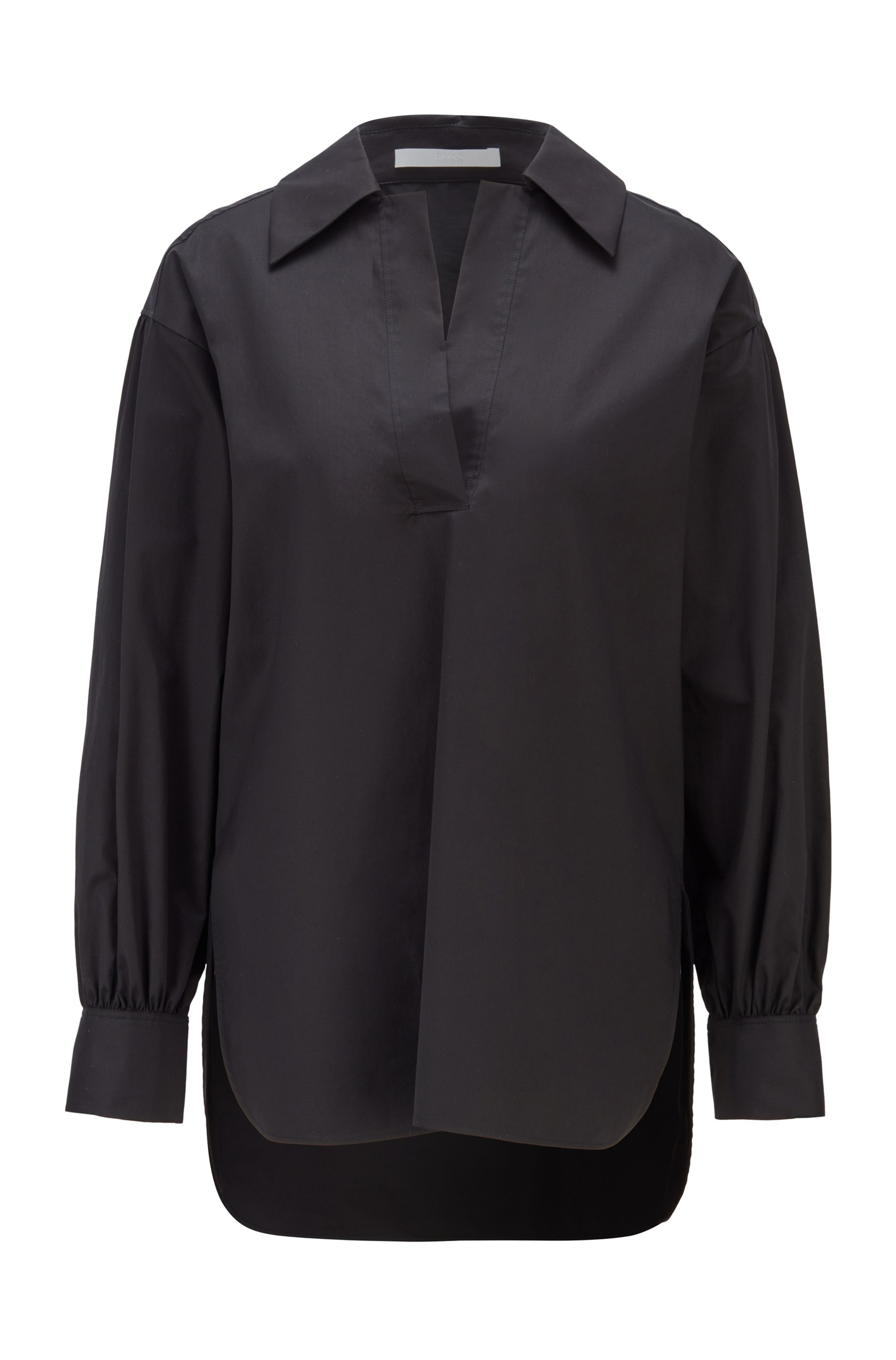 Slip-on blouse in paper-touch stretch cotton, Black