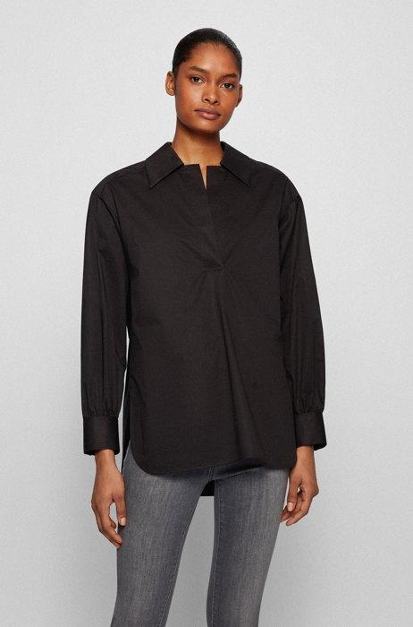 Blusa sin cierre en algodón elástico con tacto de papel, Negro