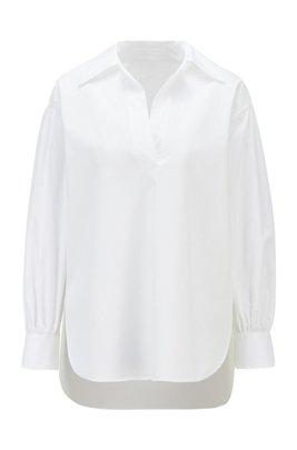 Chemisier à enfiler en coton stretch lisse, Blanc