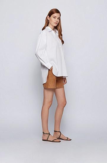 易穿脱纸感弹力棉女士衬衫,  100_White