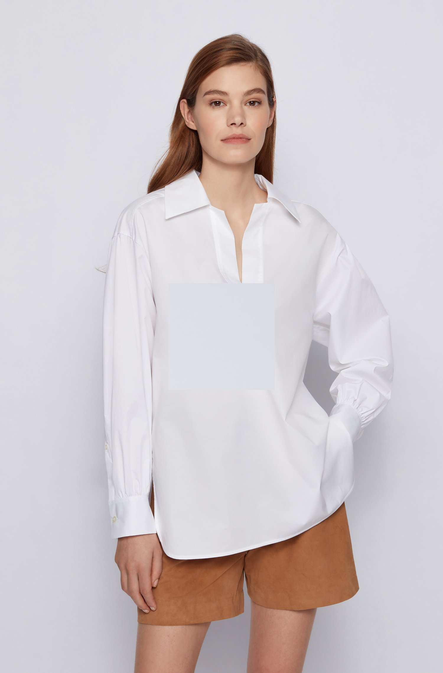 Slip-on blouse in paper-touch stretch cotton, White