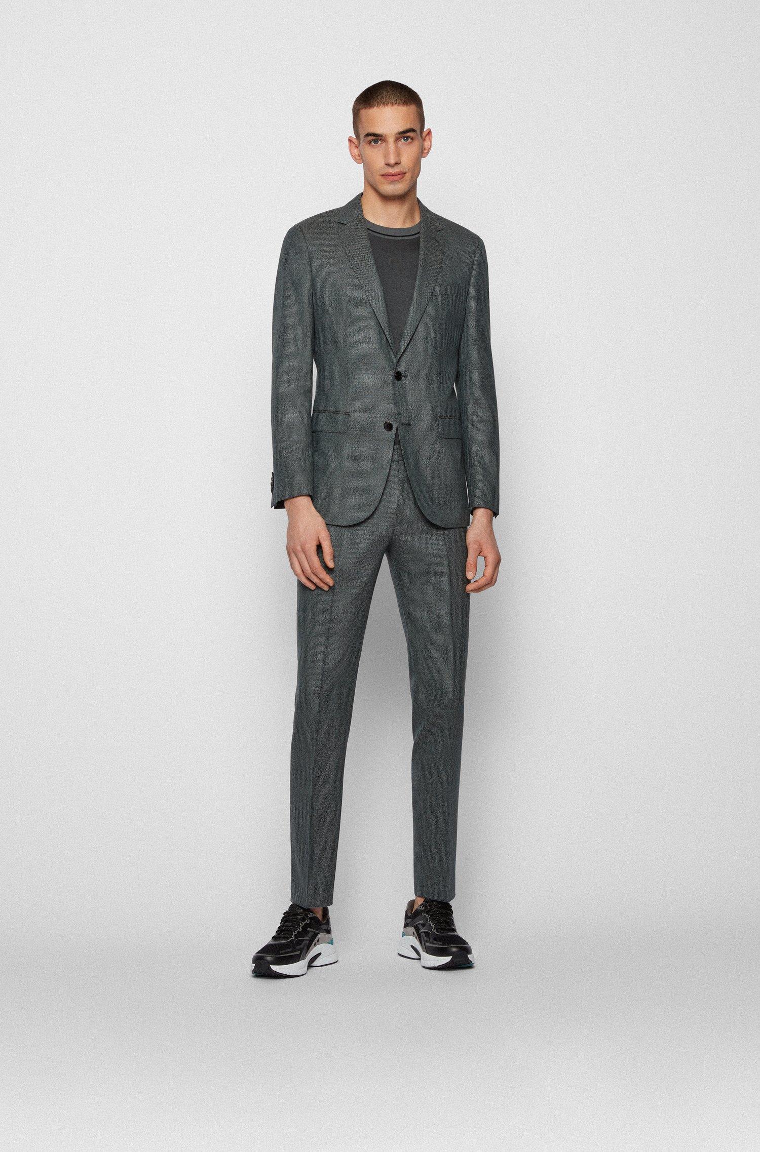 Slim-fit suit in virgin-wool serge, Dark Green